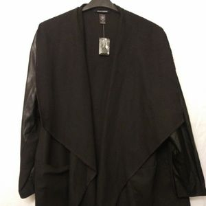 Ashley Stewart Faux Leather Sleeve Coat